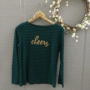 Talbots holiday striped long sleeve top. Small.
